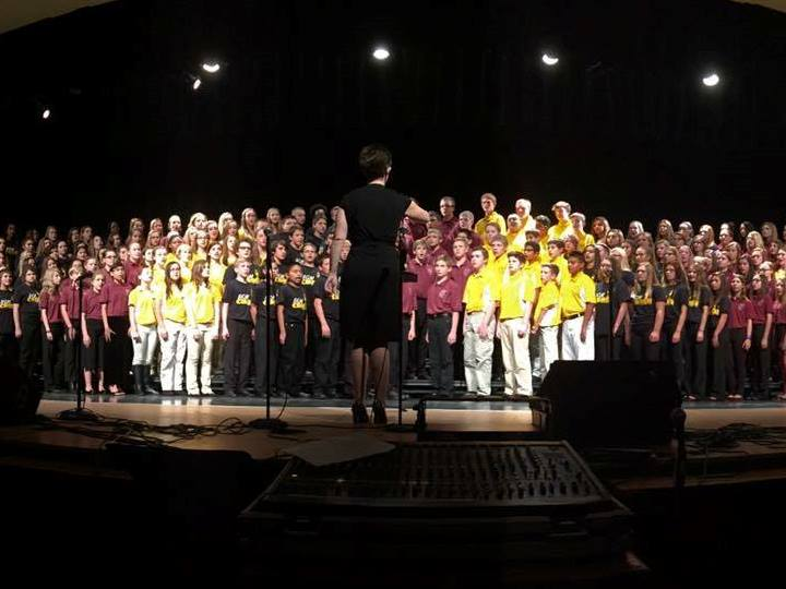 combined choirs on stage